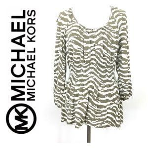 Michael Kors Smocked Long Sleeve Camo Tunic Top